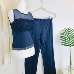 Vtg 80s Satin Embroidered Bead Navy 2 Piece Set